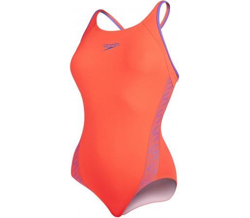 Costum de baie Speedo Woman Monogram Muscleback Rosu/Mov
