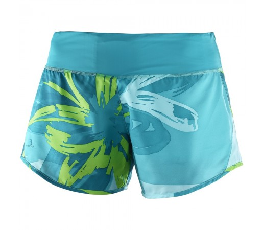 Pantaloni scurti Salomon Elevate 2in1 W Turquoise/Lime