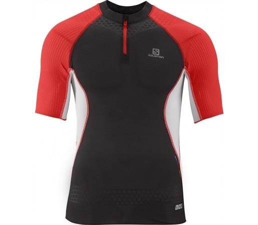 Tricou Compresie Salomon S-Lab Exo Zip Tee M Black- Red- White