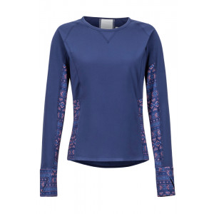 Bluza First Layer Femei Marmot Lightweight Lana LS Bleumarin / Mov