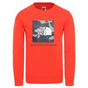 Bluza Drumetie Copii The North Face Youth Box Crew Fiery Red/Blue Wing Teal Ponderosa Print (Rosu)