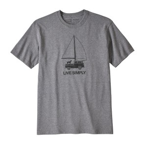 Tricou Barbati Patagonia Live Simply Wind Powered Responsibili-Tee Gri