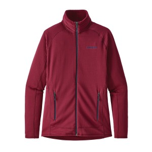 Bluza Mid-Layer Femei Hiking Patagonia R1 Full Zip Rosu