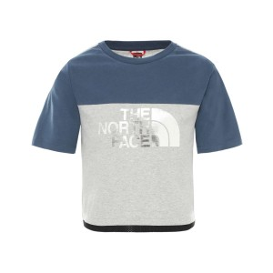 Tricou Copii The North Face Girl Cropped Short Sleeve Tee Blue Wing Teal (Bleumarin)