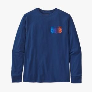 Bluza Copii Patagonia Boys' L/S Graphic Organic T-Shirt Fitz Roy Rambler: Superior Blue (Albastru)