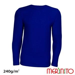 Bluza Barbati Merinito 240G Lana Merinos Si Bambus Albastru