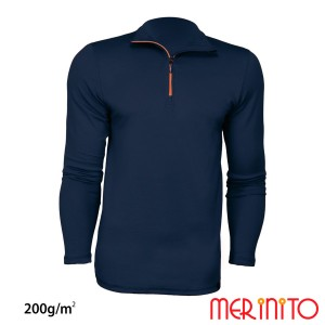 Bluza Barbati Merinito Sport Zip 200G Lana Merinos Bleumarin