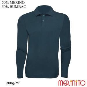 Bluza Barbati Merinito Polo Jersey 200G 50% Lana Merinos 50% Bumbac Bleumarin