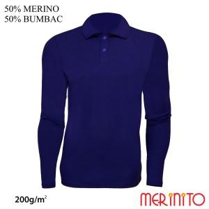 Bluza Barbati Merinito Polo Jersey 200G 50% Lana Merinos 50% Bumbac Albastru