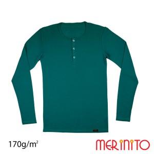 Bluza Barbati Merinito Buttons 170G 100% Lana Merinos Albastru
