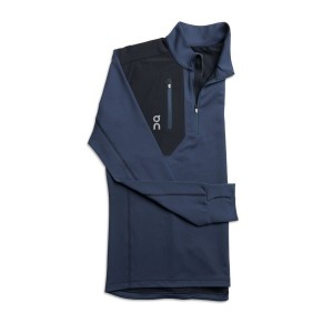 Bluza Alergare Barbati ON Weather Shirt Navy Black (Bleumarin)