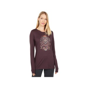 Bluza Femei Smartwool Merino Sport 150 Autumn Sun Graphic Long Sleeve Graphic Tee Woodsmoke (Visiniu)