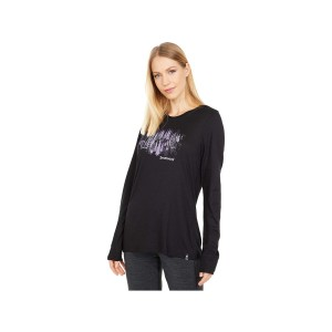 Bluza Femei Smartwool Merino Sport 150 Alpine Tree Line Long Sleeve Graphic Tee Black (Negru)