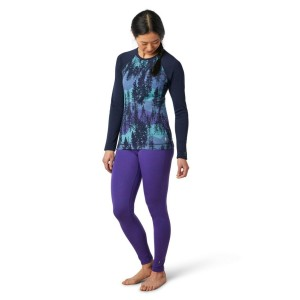 Bluza First Layer Femei Smartwool Merino 250 Base Layer Pattern Crew Boxed Deep Navy Forest Scape (Bleumarin)