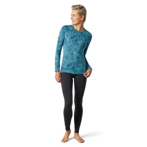 Bluza First Layer Femei Smartwool Merino 250 Base Layer Pattern Crew Boxed Wave Blue Traced Dahlia (Albastru)