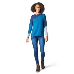 Bluza Femei Smartwool Shadow Pine Colorblock Sweater Alpine Blue Heather (Multicolor)