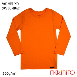 Bluza Copii Merinito 200G 50% Lana Merinos 50% Bumbac Portocaliu