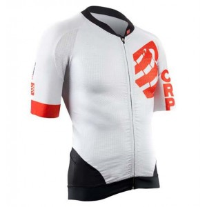 Tricou ciclism Compressport Maillot On/Off Alb/Rosu