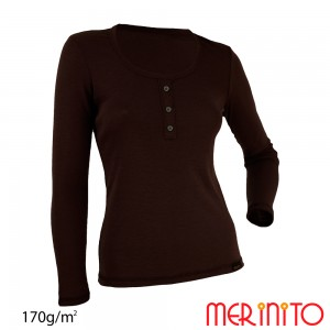 Bluza First Layer Merinito lana merinos cu nasturi scoica Visiniu