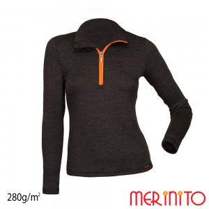 Bluza First Layer Merinito 100% lana merinos 1/4 Zip 280G W Gri