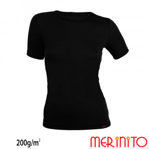 Tricou First Layer Dama Merinito 200g/mp Negru