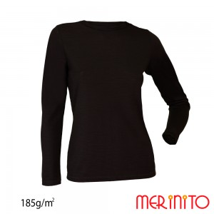 Bluza First Layer Dama Merinito 185g/mp Neagra