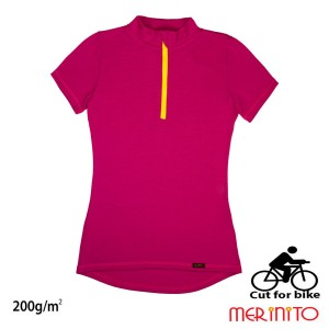 Tricou Femei Merinito Cut For Bike 200G 100% Lana Merinos Magenta