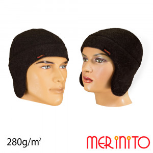 Caciula Merinito Soft Fleece 100% Merinos Negru