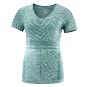 Tricou Femei Alergare Salomon Elevate Move'On Verde
