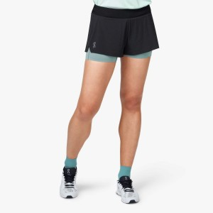 Pantaloni Scurti Alergare Femei ON Running Shorts Black Sea (Negru)