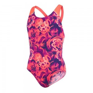 Costum baie Fete Speedo Allover Splash Back Mov / Rosu