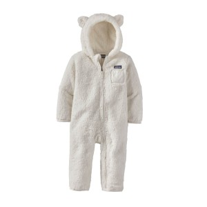 Combinezon Copii Patagonia Baby Furry Friends Bunting Birch White (Alb)