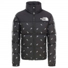 Geaca Puf Copii The North Face Youth Retro Nuptse Jkt Black Logo Prt (Negru)