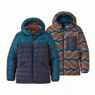Geaca Puf Copii Patagonia Boys' Reversible Down Sweater Hoody Crater Blue (Bleumarin)